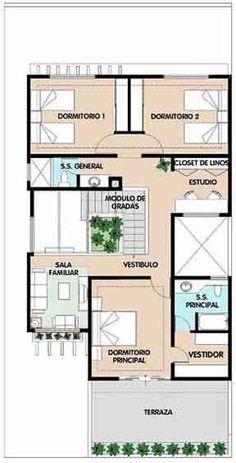 Planos de casa habitaci n de dos niveles en un terreno de metros de fre - Plano de casa ...