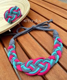 Pink Turquoise Nautical Knot Braided Tshirt Yarn by Borgica