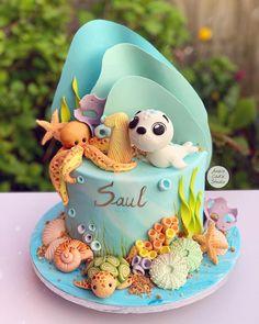 Ocean Birthday Cakes, Baby Girl Birthday Cake, Ocean Cakes, Beach Cakes, Cake Baby, Bonbons Baby Shower, Baby Shower Sweets, Baby Shower Cakes, Octopus Cake