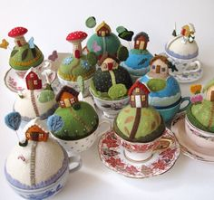 Wow - a whole town! The pin cushions from Mimi Kirchner are made on top of a solid wool felt ball and are glued into a teacup.The details are all hand embroidered. Sewing Crafts, Sewing Projects, Projects To Try, Felt Crafts, Diy Crafts, Teacup Crafts, Felt House, Tiny World, Wool Applique