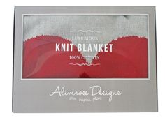 * Alimrose Heart Cotton Knit Stroller Blanket - Grey & Red - 100% softest cotton knit blanket featuring heart design. Perfect newborn gift! 100cm x 70cm