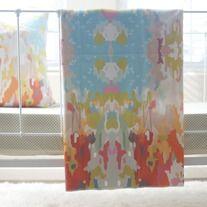 LOOOOVEEE organic cotton throw blanket in watercolor ikat