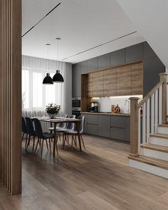 Kitchen Room Design, Modern Kitchen Design, Kitchen Layout, Home Decor Kitchen, Interior Design Kitchen, Modern Kitchen Interiors, Minimalist Kitchen, Cuisines Design, Apartment Interior