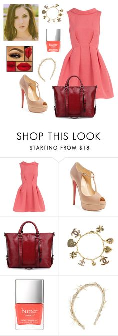 """Untitled #1991"" by jenny100415 ❤ liked on Polyvore featuring Dorothy Perkins, Christian Louboutin, Chanel and Gigi Burris Millinery"