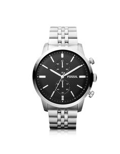 Fossil Townsman Chronograph Silver Stainless Steel Mens Watch in Silver for Men | Lyst