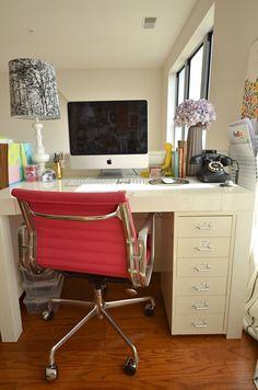 WEST ELM Parsons Desk & IKEA Helmer 6 drawer unit via onmyagenda.com