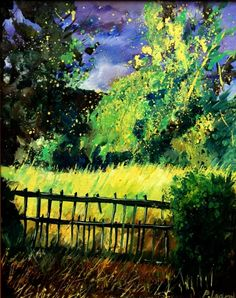 old fence, painting by artist ledent pol
