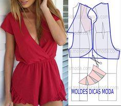 Short ruffled jumpsuit - Diy idea how to make tutorial sew pattern Dress Sewing Patterns, Clothing Patterns, Diy Fashion, Ideias Fashion, Fashion Design, Diy Pantalon, Sewing Blouses, Jolie Lingerie, Jumpsuit Pattern