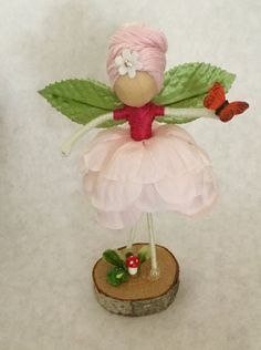 Flower Fairy Doll on Stand by TheeFairyShoppe on Etsy