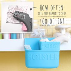 How often does this happen to you? Too often! Hot glue guns are fabulous but can be messy and dangerous. Never touch hot glue while it is hot! Let the glue dry in or on your Hobby Holster. The dry glue will peel right off of the silicone like magic. Check out all the colors at HolsterBrands.com #craftroom #HolsterBrands