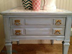 Designitgirlblog: MARBLE TOP VINTAGE END TABLE PAINTED AN INSPIRED ROBINS EGG BLUE: BEFORE & AFTER!
