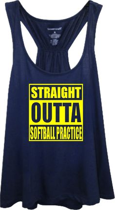This straight outta softball practice flare tank is sure to be your favorite layer in your softball swag. Our women's racer back flare tank is an easy to wear tank with a flattering silhouette that is great for layering.