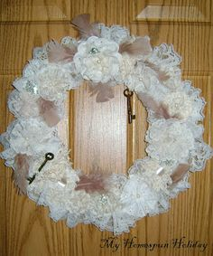My Homespun Holiday: Altered lace trees/lace flower wreath