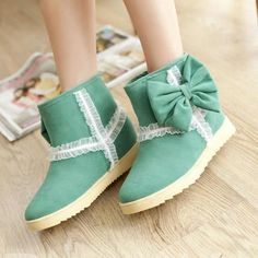 $ 19.99 Good-Looking Wool Inner Bowknot Green Women's Boots