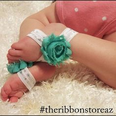 Come in and design some cute baby barefoot sandals!! Sign up for our NEW stretch class and let us teach you how to make these and so much more!  480-844-8005 #theribbonstoreaz #theribbonstore