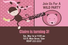 Zoo Pink Monkey Safari Jungle Birthday Party Invitations - Get these invitations RIGHT NOW. Design yourself online, download and print IMMEDIATELY! Or choose my printing services. No software download is required. Free to try!