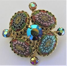 Beautiful Moroccan glass cabochon rhinestone brooch. Colors may appear differently in person due to variances in monitor settings. | eBay!