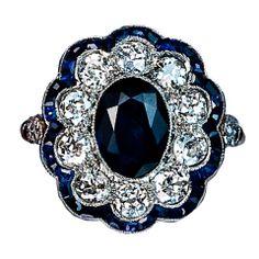 Antique Sapphire Diamond Cluster Ring