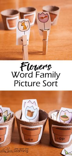 We used mini-flower pots to sort the image-flowers into the correct word family in this word family picture sort just perfect for spring! Word Family Activities, Cvc Word Families, Learning Activities, Teaching Resources, Teaching Ideas, Family Images, Family Pictures, Word Family List, Spring Words