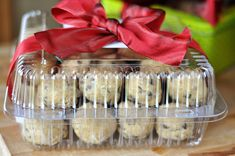 """Cookies Container -- give frozen cookie dough balls with directions for baking instead of a tray of already made cookies--then the person can make them whenever they need a little """"pick me up"""""""