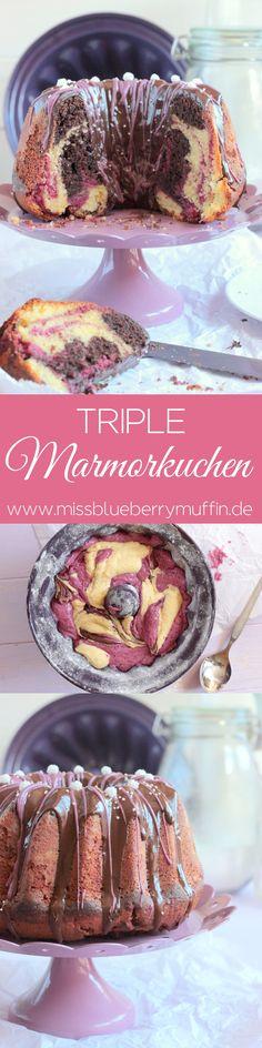 Wunderschöner saftiger Marmorkuchen mit drei Teigsorten! Vanille, Schokolade und schwarze Johannisbeere!