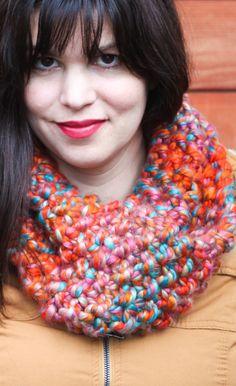 21 super Ideas for knitting patterns free scarf chunky seed stitch Snood Knitting Pattern, Chunky Knitting Patterns, Knitting Yarn, Free Knitting, Cowl Patterns, Knitting Terms, Crochet Scarf Easy, Knit Crochet, Irish Crochet