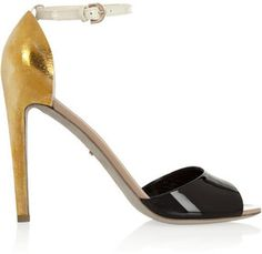 sergio rossi patentleather and hammeredmetal sandals