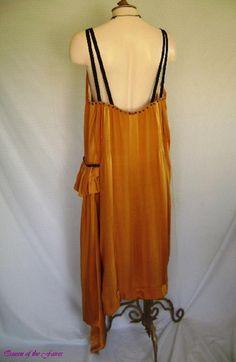 1920s Pumpkin Spice Gold Silk Beaded Asymmetrical Flapper  Dress. Back