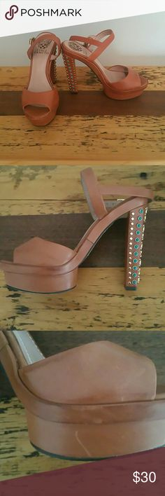 Vince Camuto Studded Heels Tan heels with gold and turquoise studs on heel. No studs missing. Some signs of wear such as scuffing (pictured) beautiful pair of shoes. Vince Camuto Shoes Heels