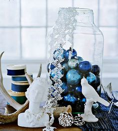 blue ornaments to tie in blue theme