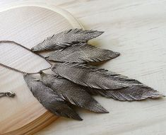 Layered Leather Feather Necklace Bronze shimmer Free by TZain, $38.00-WOW! Leather feathers!