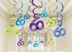60th Birthday Hanging Swirl Decorations Value Pack | 30 ct