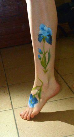 blue flowers on my leg