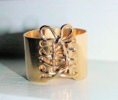 14K gold Filled Wide Corset Ring with Wire lace up & Bow on Etsy, $149.00