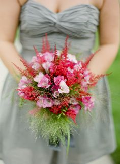 Beautiful red and pink and white flowers.  Love this boquet.
