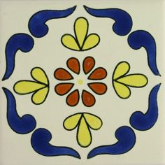 Each Especial Spanish Decorative Tile - Campeche is truly an individual work of art that will add lasting beauty and warmth to your home. Plate Design, Tile Design, Mexican Ceramics, Border Tiles, Spanish Tile, Tile Art, Tile Painting, Decorative Tile, Hand Painted Ceramics