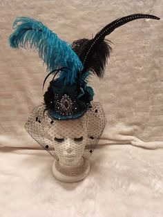Aqua Blue and Black Crystal Mini Top Hat. Burlesque Fascinator Costume Vintage #EmpireMiniTopHats