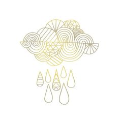 Forget silver, this cloud by James Gulliver Hancock is lined in gold! This Tattly is also available as part of the Radiant Set. Rain Cloud Tattoos, Rain Tattoo, Storm Tattoo, Cloud Drawing, Back Tattoo Women, Bullet Journal Themes, No Rain, Symbolic Tattoos, Lower Back Tattoos