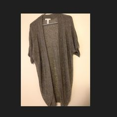 Gray Short Sleeve Sweater Gray Short Sleeve Sweater, Looser Knit, Super Cute Belted ! Great for Spring/Fall with Tank Top, Leggings or Skinny Jeans ! Never Worn Ambiance Apparel Sweaters Cardigans