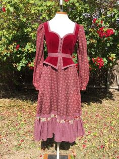 Gunne Sax, Maroon Dress, Look Alike, Boho Gypsy, 1970s, Bodice, Floral Prints, Velvet, Clothes For Women