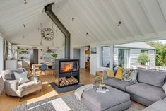 bungalow transformed into a modern, open plan home with a contemporary remodel and extension - CAANdesign Bungalow Living Rooms, Bungalow Interiors, Bungalow Renovation, Bungalow Homes, Coastal Cottage, Coastal Homes, Coastal Living, Coastal Decor, Coastal Rugs