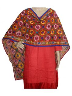 Chanderi Stole Handwork Chanderi Stole with Traditional Embroidery Work  Stole Length 2.25 Meter, Width 0.5 Meter  Wash Care Dry Clean Shop Now : http://www.jankiphulkari.com/red-chanderi-stole-jstc1045