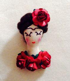 Frida Kahlo Brooch. Cloth Doll.