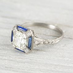 Someone show this to Logan 1.17 Carat Art Deco Diamond & Sapphire Engagement Ring | Erstwhile Jewelry Co.