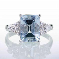 Emerald Cut Aquamarine Engagement Wedding Ring