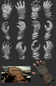Fold on a leather glove, much thicker than cloth, looks good and realistic.
