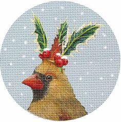 Melissa Shirley Designs | Hand Painted Needlepoint | Cardinal - Holly Crown ©Vicki Sawyer