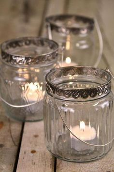 Can't go wrong with having tea lights in a jar, simple and classic.