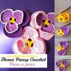 Cómo Tejer Flores Pansy Paso a paso / Crochet