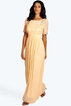Embellished chiffon peach maxi dress with mesh details 4ufashion.eu